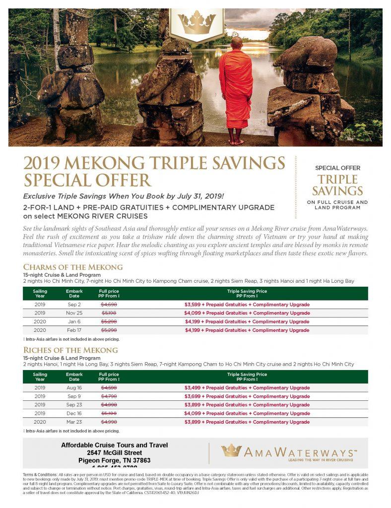 Triple Savings on a 2019 Mekong River Cruise